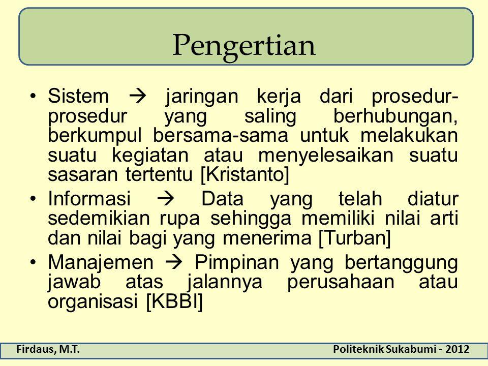 Firdaus, M.T.Politeknik Sukabumi - 2012 Pengertian Sistem  jaringan kerja dari prosedur- prosedur yang saling berhubungan, berkumpul bersama-sama unt