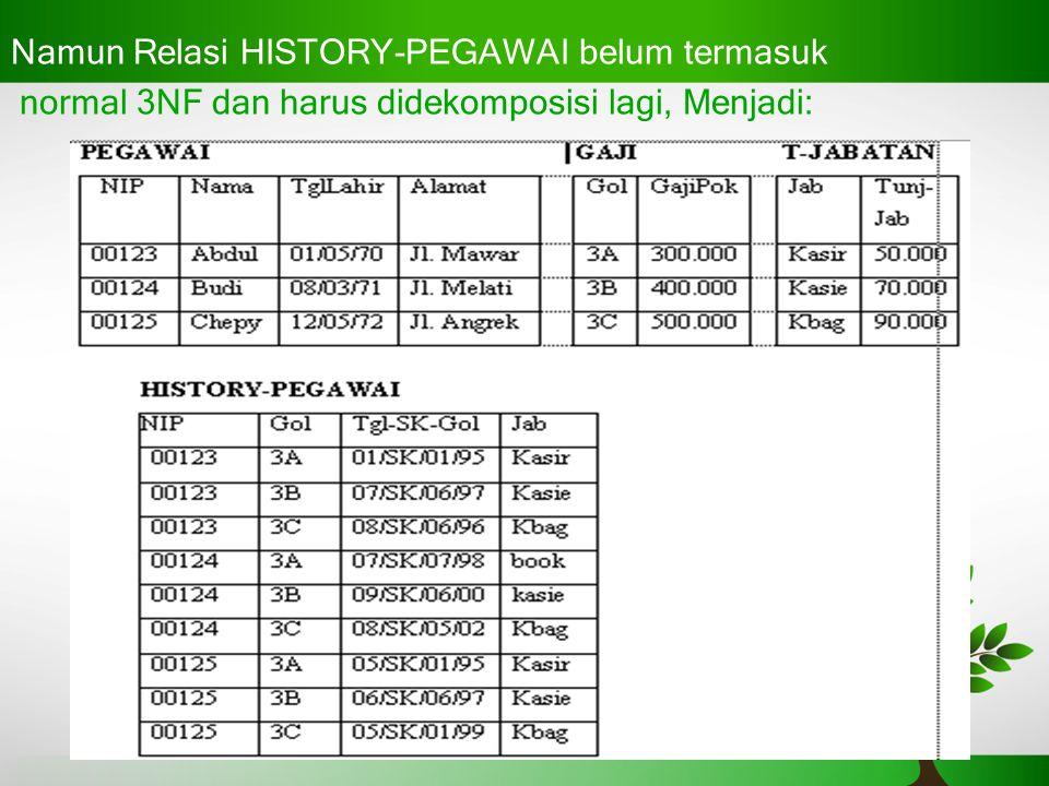 Namun Relasi HISTORY-PEGAWAI belum termasuk normal 3NF dan harus didekomposisi lagi, Menjadi: