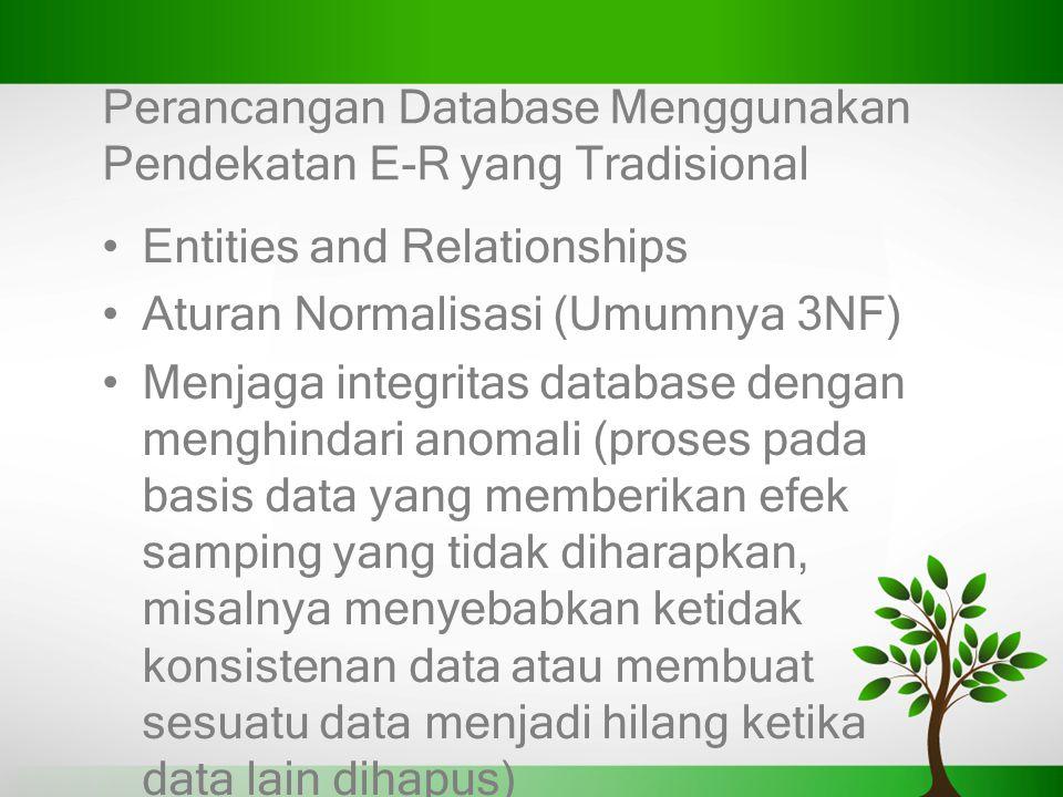 Perancangan Database Menggunakan Pendekatan E-R yang Tradisional Entities and Relationships Aturan Normalisasi (Umumnya 3NF) Menjaga integritas databa