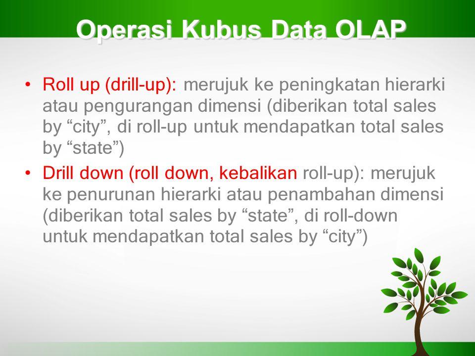 "Operasi Kubus Data OLAP Roll up (drill-up): merujuk ke peningkatan hierarki atau pengurangan dimensi (diberikan total sales by ""city"", di roll-up untu"