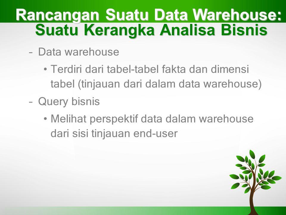 Rancangan Suatu Data Warehouse: Suatu Kerangka Analisa Bisnis –Data warehouse Terdiri dari tabel-tabel fakta dan dimensi tabel (tinjauan dari dalam da