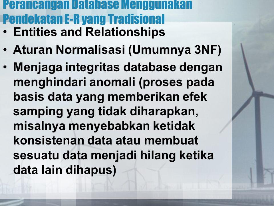 Bentuk Normal Pertama (1NF) Definisi bentuk normal pertama adalah sbb: Suatu relasi dikatakan dalam bentuk normal pertama jika dan hanya jika setiap atribut bernilai tunggal untuk setiap baris.