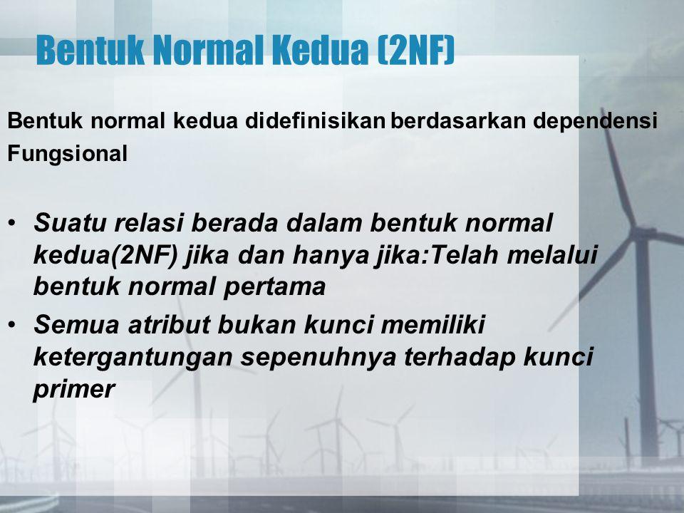 Ketergantungan fungsi sepenuhnya Suatu atribut Y mempunyai ketergantungan fungsi penuh terhadap atribut X, jikaY mempunyai ketergantungan fungsi terhadap X Y tidak memiliki dependensi terhadap bagian dari X Definisi diatas dituangkan dalam bentuk notasi X  Y Contoh: Nilai : (NPM, Kd-Mt-Kul, Nilai) {NPM, Kd-Mt-Kul}  Nilai NPM  Nilai (Tidak memiliki dependency) Kd-Mt-Kul  Nilai (Tidak memiliki dependency)