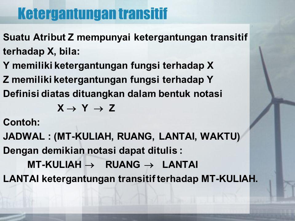 Ketergantungan transitif Suatu Atribut Z mempunyai ketergantungan transitif terhadap X, bila: Y memiliki ketergantungan fungsi terhadap X Z memiliki k