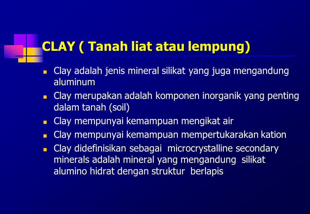 Pembagian mineral clay Clay dibedakan satu dengan lainnya berdasarkan a.