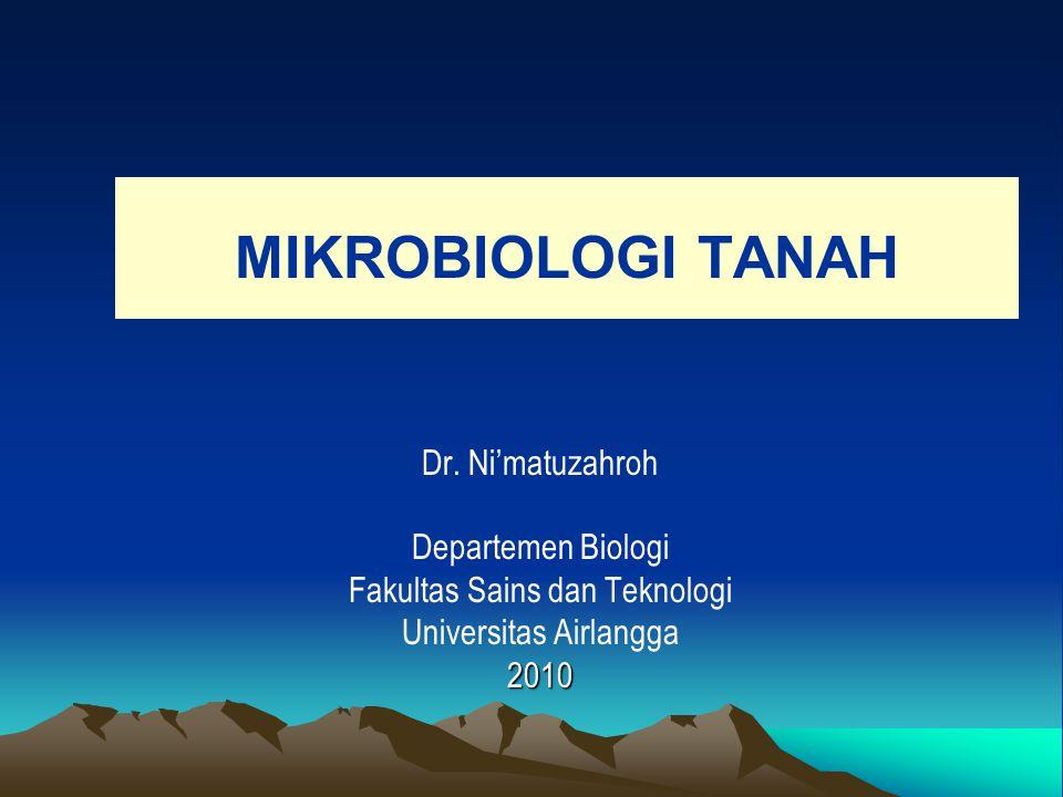MIKROBIOLOGI TANAH Dr. Ni'matuzahroh Departemen Biologi Fakultas Sains dan Teknologi Universitas Airlangga2010