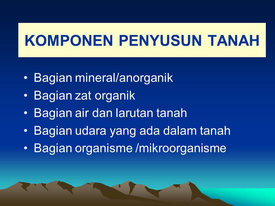 KOMPONEN PENYUSUN TANAH Bagian mineral/anorganik Bagian zat organik Bagian air dan larutan tanah Bagian udara yang ada dalam tanah Bagian organisme /m