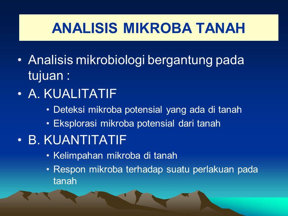 ANALISIS MIKROBA TANAH Analisis mikrobiologi bergantung pada tujuan : A. KUALITATIF Deteksi mikroba potensial yang ada di tanah Eksplorasi mikroba pot