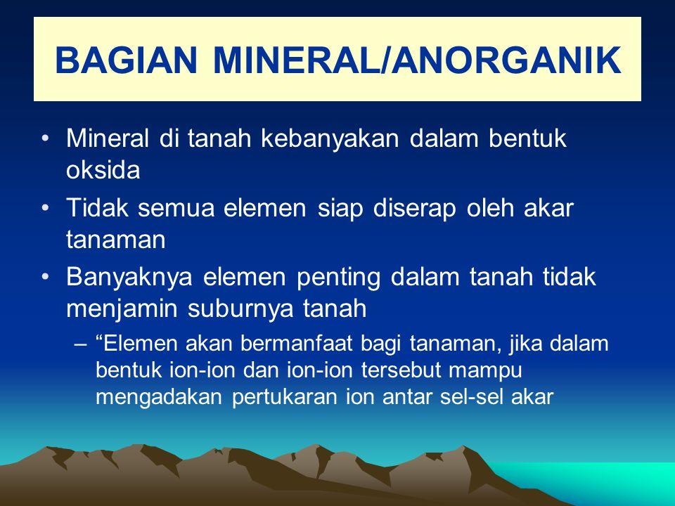BAGIAN MINERAL/ANORGANIK Mineral di tanah kebanyakan dalam bentuk oksida Tidak semua elemen siap diserap oleh akar tanaman Banyaknya elemen penting da