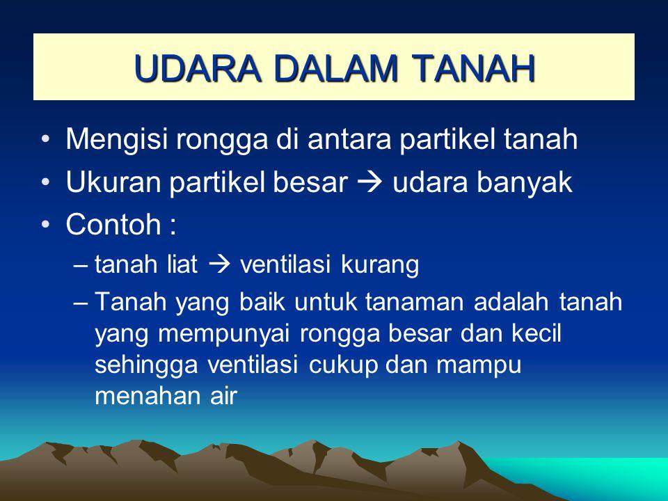 UDARA DALAM TANAH Mengisi rongga di antara partikel tanah Ukuran partikel besar  udara banyak Contoh : –tanah liat  ventilasi kurang –Tanah yang bai