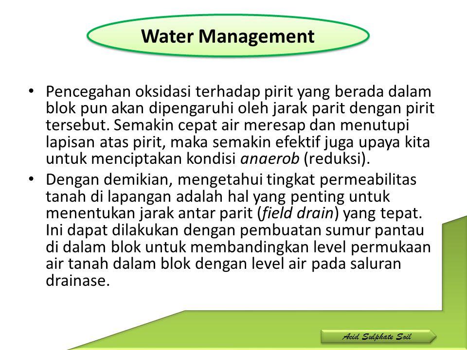 Drain Pada saat setelah hujan di lapangan, posisi level permukaan air di saluran drainase akan lebih rendah dari permukaan air di lahan (dalam blok).
