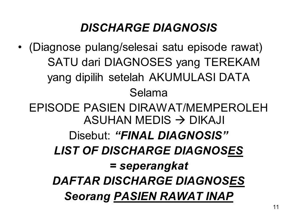 11 DISCHARGE DIAGNOSIS (Diagnose pulang/selesai satu episode rawat) SATU dari DIAGNOSES yang TEREKAM yang dipilih setelah AKUMULASI DATA Selama EPISODE PASIEN DIRAWAT/MEMPEROLEH ASUHAN MEDIS  DIKAJI Disebut: FINAL DIAGNOSIS LIST OF DISCHARGE DIAGNOSES = seperangkat DAFTAR DISCHARGE DIAGNOSES Seorang PASIEN RAWAT INAP