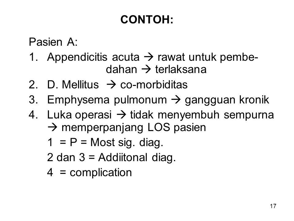 17 CONTOH: Pasien A: 1.Appendicitis acuta  rawat untuk pembe- dahan  terlaksana 2.D.