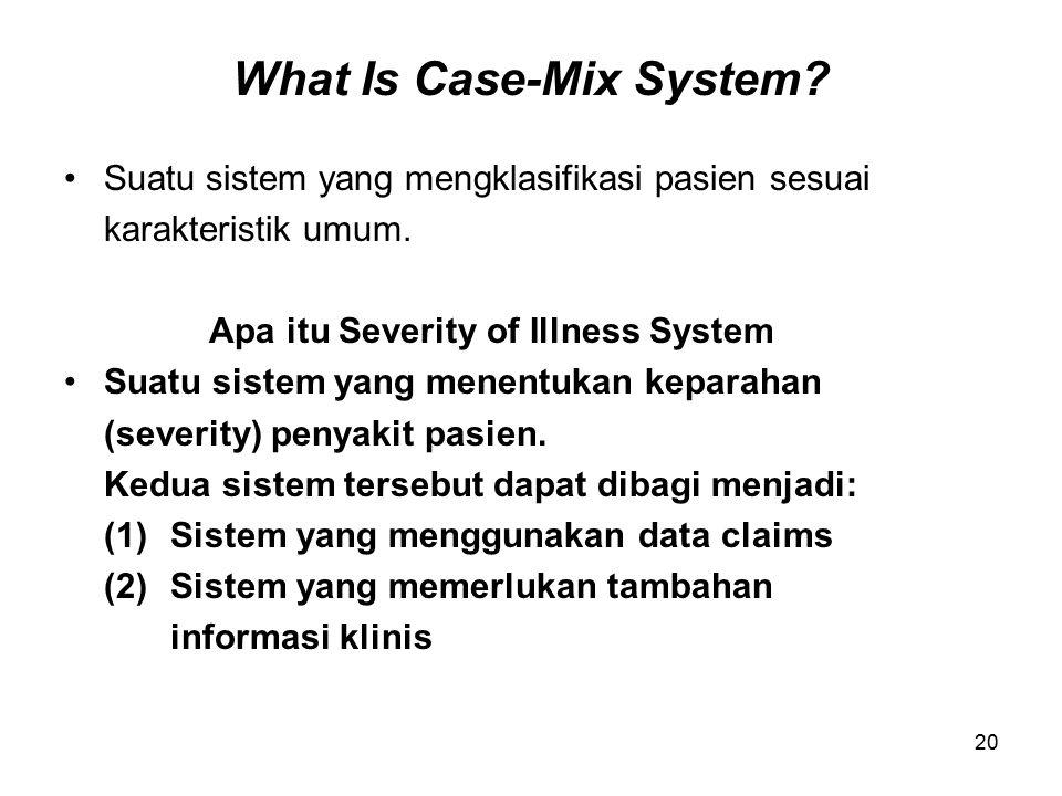 20 What Is Case-Mix System.Suatu sistem yang mengklasifikasi pasien sesuai karakteristik umum.