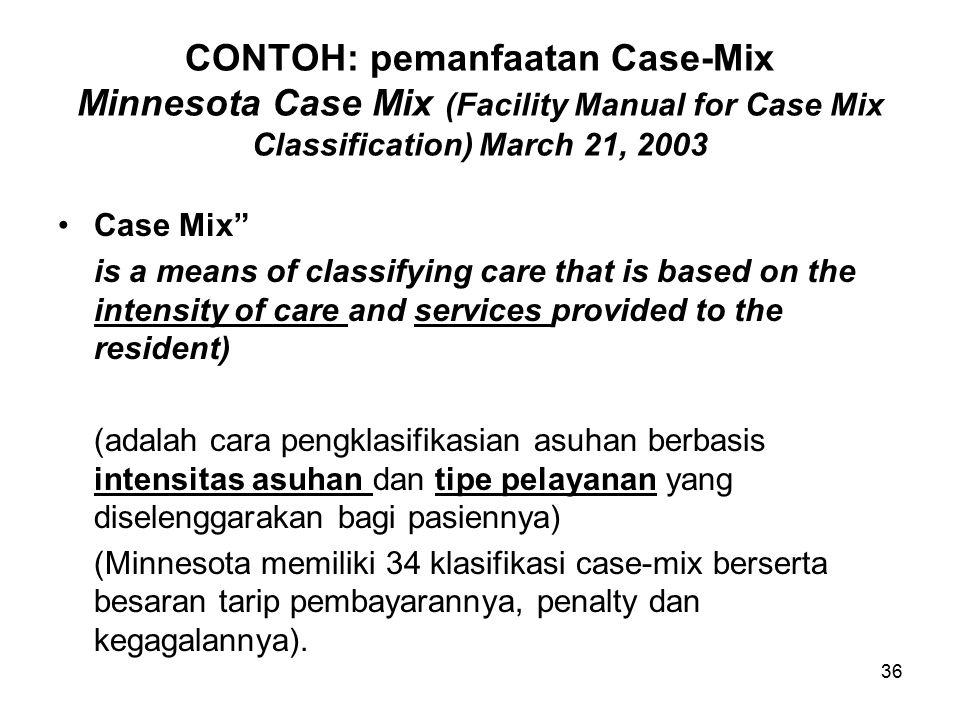 36 CONTOH: pemanfaatan Case-Mix Minnesota Case Mix (Facility Manual for Case Mix Classification) March 21, 2003 Case Mix is a means of classifying care that is based on the intensity of care and services provided to the resident) (adalah cara pengklasifikasian asuhan berbasis intensitas asuhan dan tipe pelayanan yang diselenggarakan bagi pasiennya) (Minnesota memiliki 34 klasifikasi case-mix berserta besaran tarip pembayarannya, penalty dan kegagalannya).
