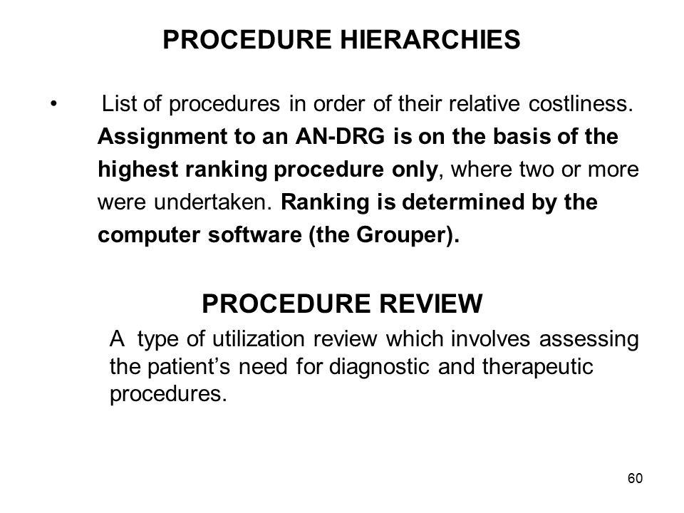 60 PROCEDURE HIERARCHIES List of procedures in order of their relative costliness.