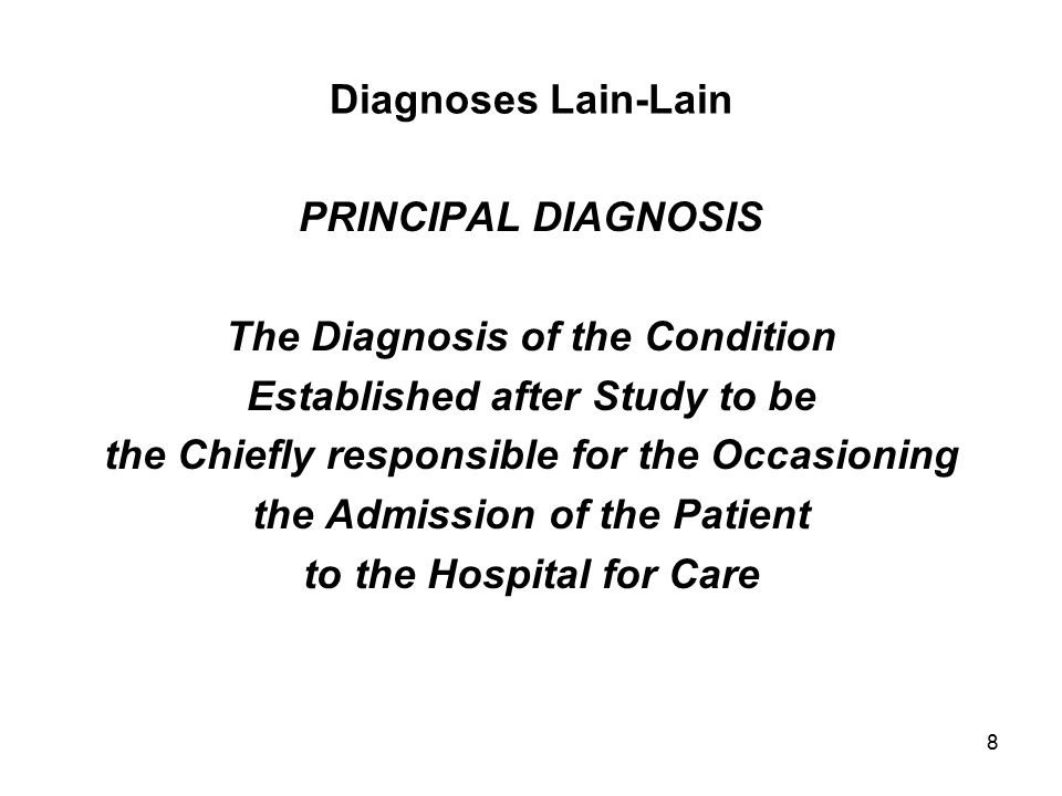 59 PRINCIPAL PROCEDURE The procedure performed for definitive treatment rather than for diagnostic or exploratory purposes.