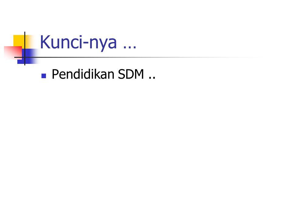 Kunci-nya … Pendidikan SDM..