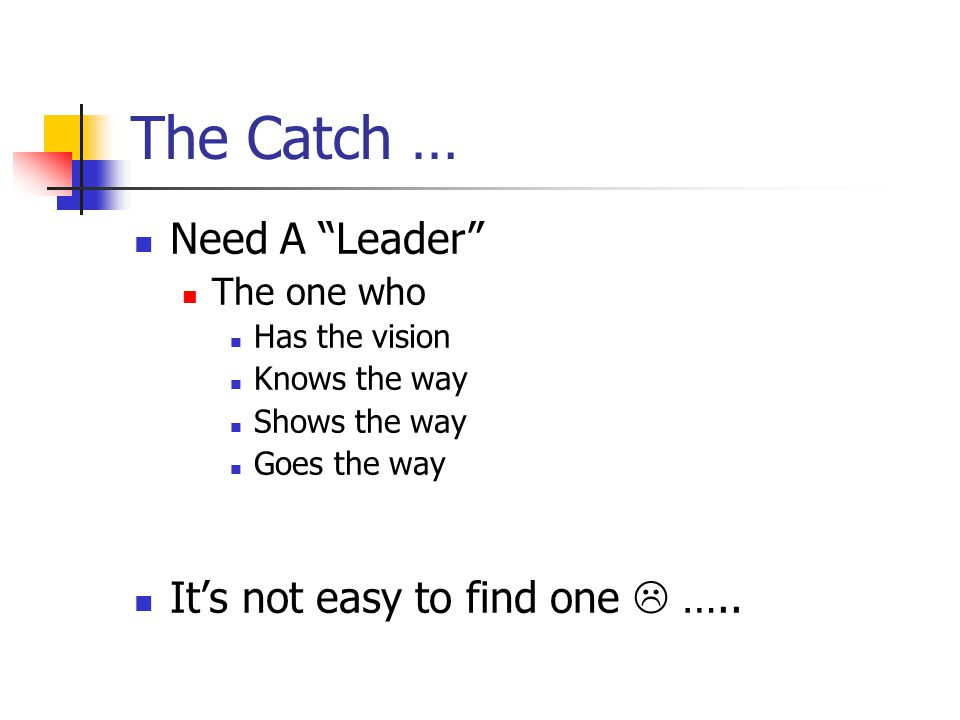 "The Catch … Need A ""Leader"" The one who Has the vision Knows the way Shows the way Goes the way It's not easy to find one  ….."