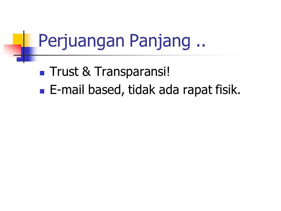 Perjuangan Panjang.. Trust & Transparansi! E-mail based, tidak ada rapat fisik.