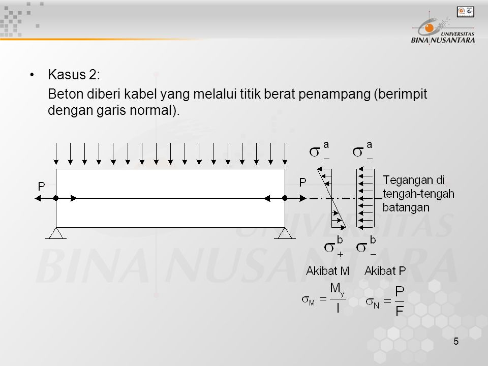 5 Kasus 2: Beton diberi kabel yang melalui titik berat penampang (berimpit dengan garis normal).