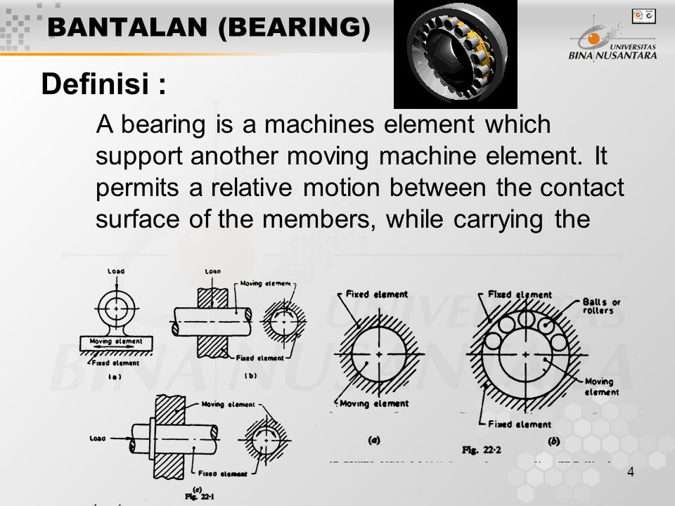 4 BANTALAN (BEARING) Definisi : A bearing is a machines element which support another moving machine element.