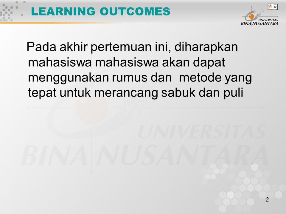 2 LEARNING OUTCOMES Pada akhir pertemuan ini, diharapkan mahasiswa mahasiswa akan dapat menggunakan rumus dan metode yang tepat untuk merancang sabuk