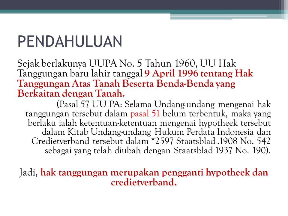 PENDAHULUAN Sejak berlakunya UUPA No. 5 Tahun 1960, UU Hak Tanggungan baru lahir tanggal 9 April 1996 tentang Hak Tanggungan Atas Tanah Beserta Benda-