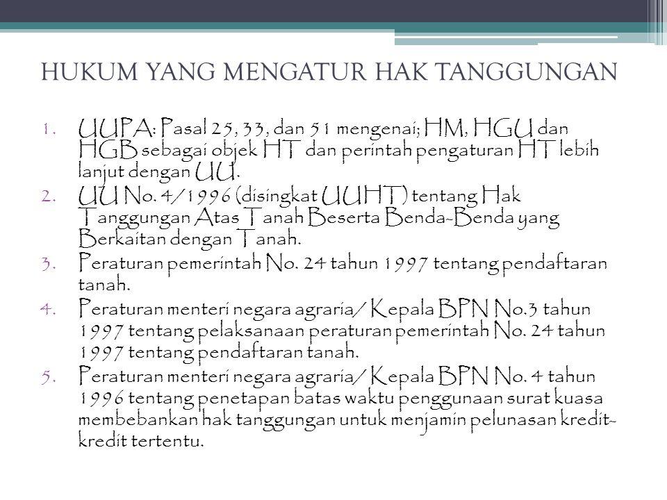HUKUM YANG MENGATUR HAK TANGGUNGAN 1.UUPA: Pasal 25, 33, dan 51 mengenai; HM, HGU dan HGB sebagai objek HT dan perintah pengaturan HT lebih lanjut den