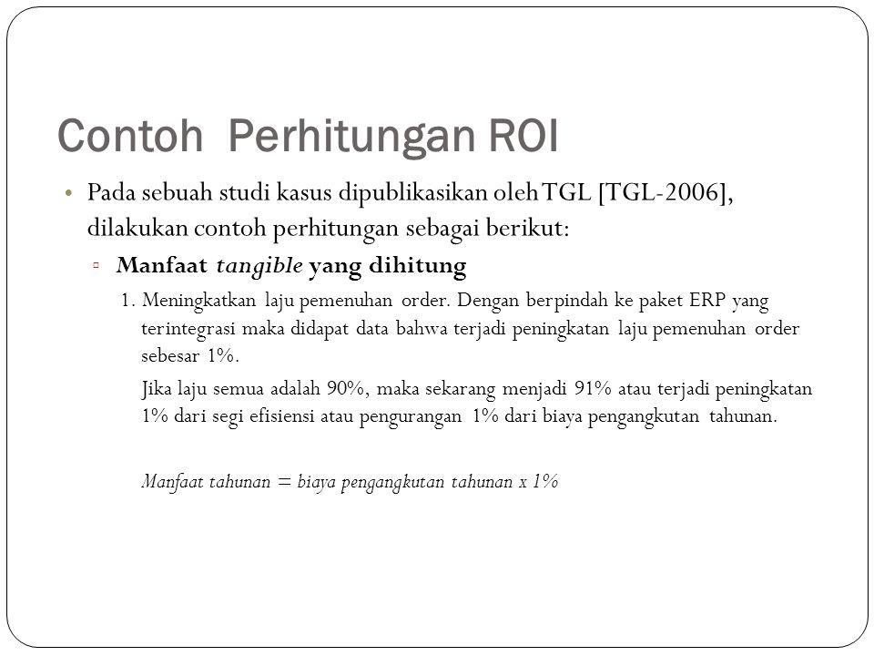 Contoh Perhitungan ROI Pada sebuah studi kasus dipublikasikan oleh TGL [TGL-2006], dilakukan contoh perhitungan sebagai berikut: ▫ Manfaat tangible ya
