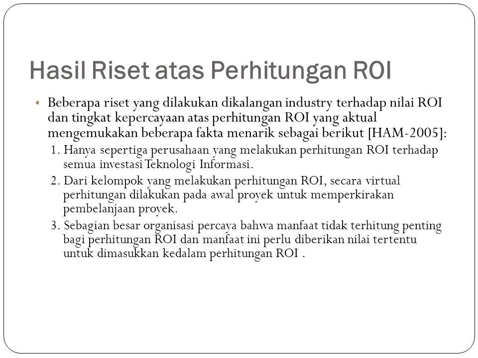 Hasil Riset atas Perhitungan ROI Beberapa riset yang dilakukan dikalangan industry terhadap nilai ROI dan tingkat kepercayaan atas perhitungan ROI yang aktual mengemukakan beberapa fakta menarik sebagai berikut [HAM-2005]: 1.