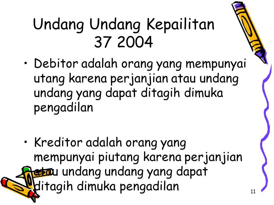 11 Undang Undang Kepailitan 37 2004 Debitor adalah orang yang mempunyai utang karena perjanjian atau undang undang yang dapat ditagih dimuka pengadilan Kreditor adalah orang yang mempunyai piutang karena perjanjian atau undang undang yang dapat ditagih dimuka pengadilan