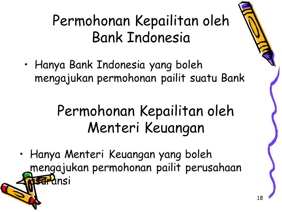 18 Permohonan Kepailitan oleh Bank Indonesia Hanya Bank Indonesia yang boleh mengajukan permohonan pailit suatu Bank Permohonan Kepailitan oleh Menteri Keuangan Hanya Menteri Keuangan yang boleh mengajukan permohonan pailit perusahaan asuransi