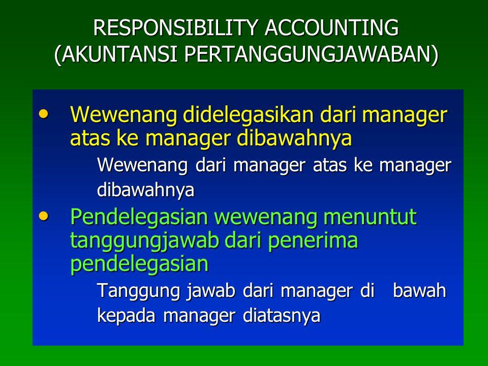 RESPONSIBILITY ACCOUNTING (AKUNTANSI PERTANGGUNGJAWABAN) Wewenang didelegasikan dari manager atas ke manager dibawahnya Wewenang didelegasikan dari ma