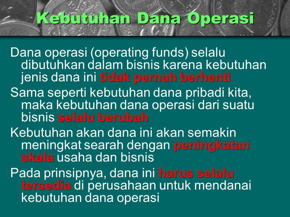 Kebutuhan Dana Operasi tidak pernah berhenti Dana operasi (operating funds) selalu dibutuhkan dalam bisnis karena kebutuhan jenis dana ini tidak perna