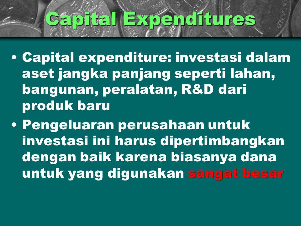 Capital Expenditures Capital expenditure: investasi dalam aset jangka panjang seperti lahan, bangunan, peralatan, R&D dari produk baru sangat besarPen