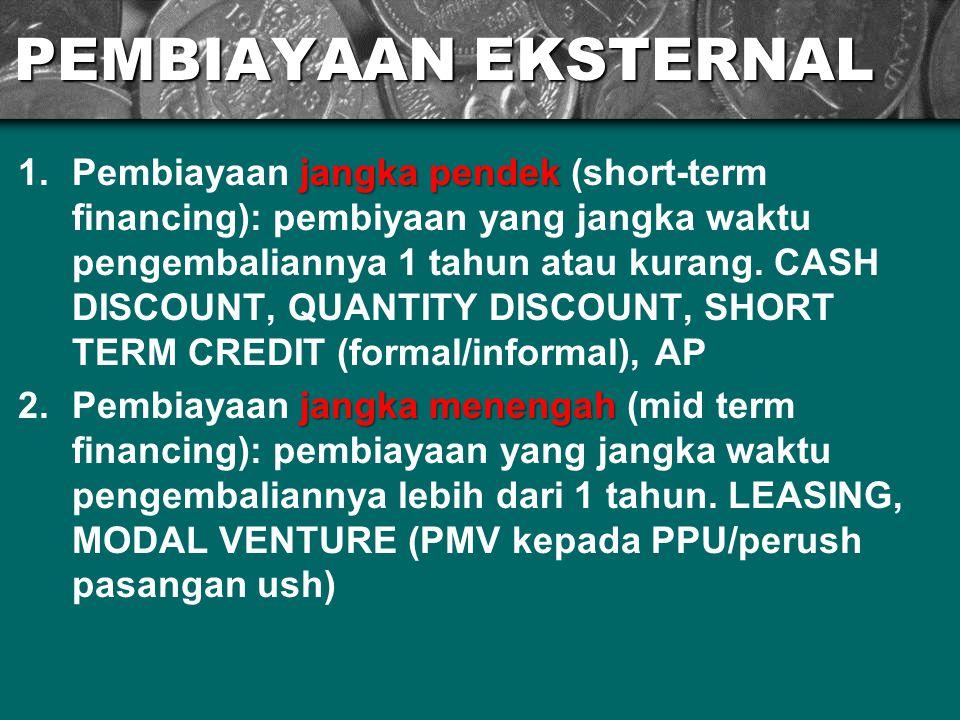 PEMBIAYAAN EKSTERNAL jangka pendek 1.Pembiayaan jangka pendek (short-term financing): pembiyaan yang jangka waktu pengembaliannya 1 tahun atau kurang.