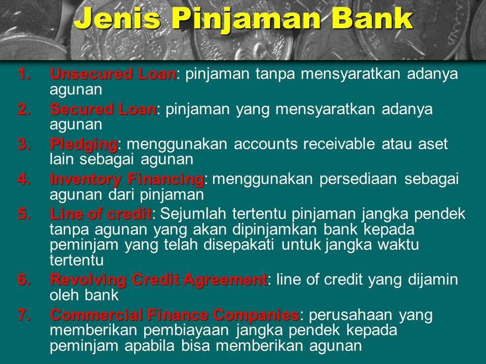 Jenis Pinjaman Bank 1.Unsecured Loan 1.Unsecured Loan: pinjaman tanpa mensyaratkan adanya agunan 2.Secured Loan 2.Secured Loan: pinjaman yang mensyara