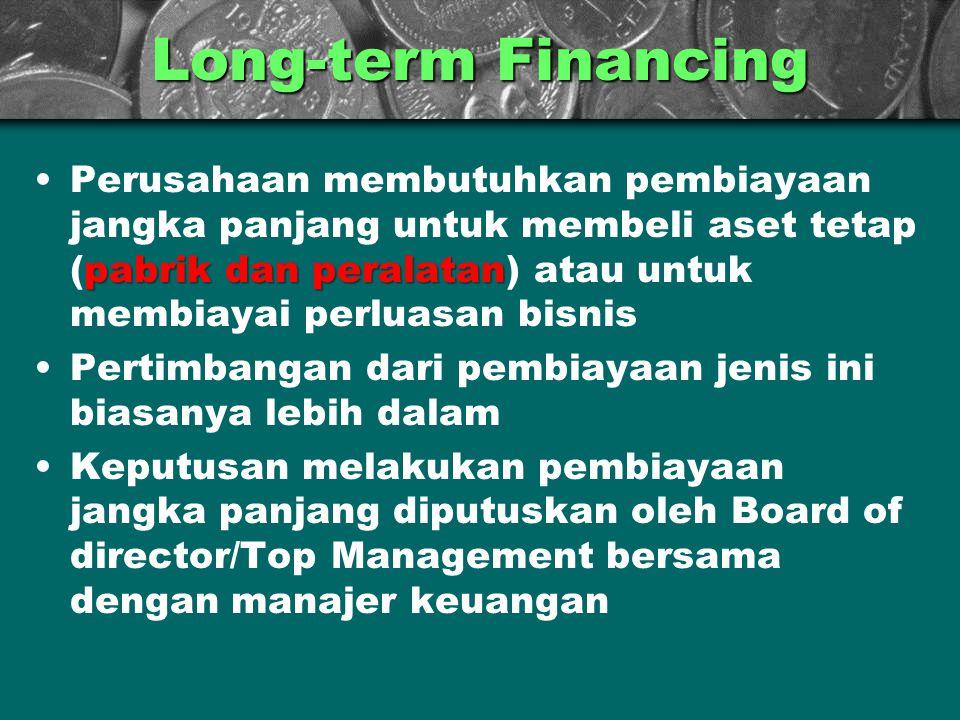 Long-term Financing pabrik dan peralatanPerusahaan membutuhkan pembiayaan jangka panjang untuk membeli aset tetap (pabrik dan peralatan) atau untuk me