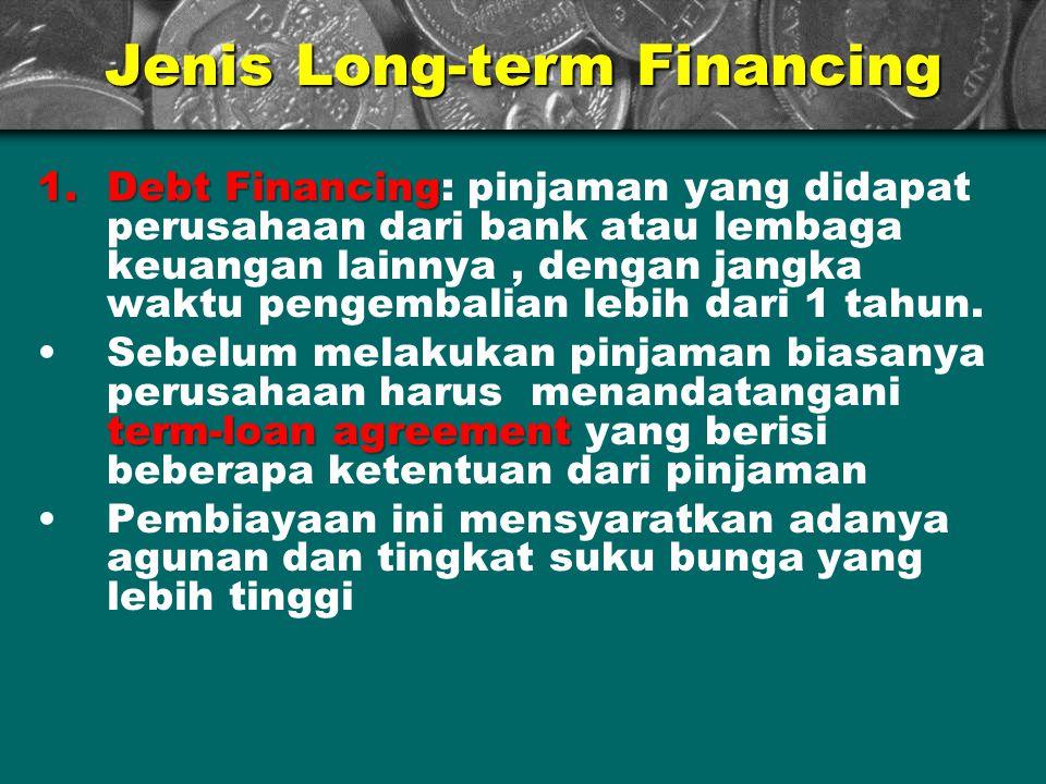 Jenis Long-term Financing 1.Debt Financing 1.Debt Financing: pinjaman yang didapat perusahaan dari bank atau lembaga keuangan lainnya, dengan jangka w