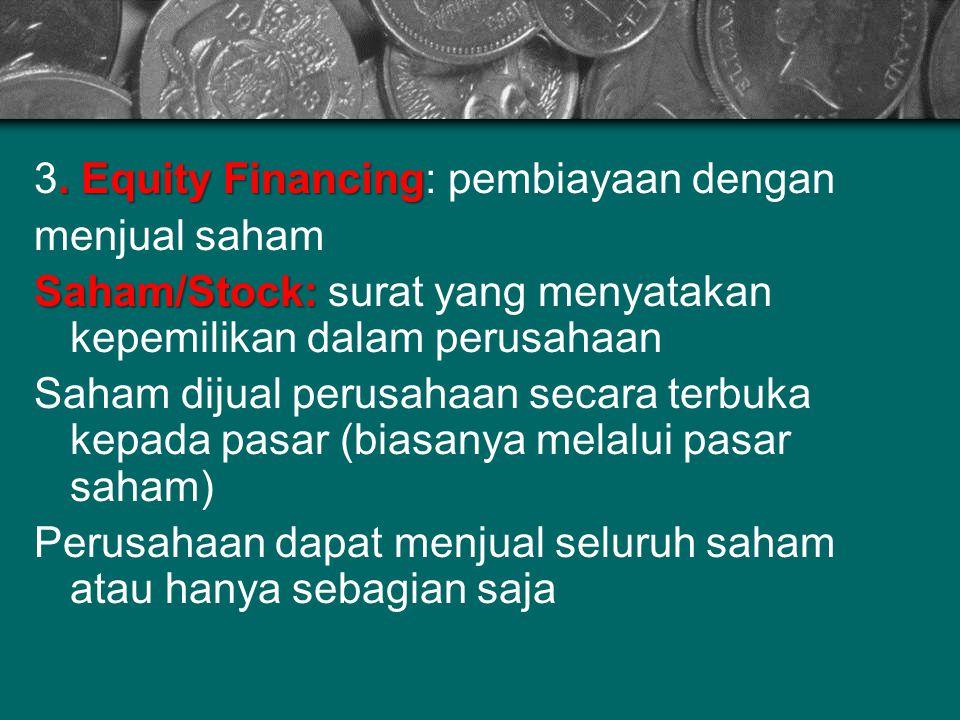 . Equity Financing 3. Equity Financing: pembiayaan dengan menjual saham Saham/Stock: Saham/Stock: surat yang menyatakan kepemilikan dalam perusahaan S