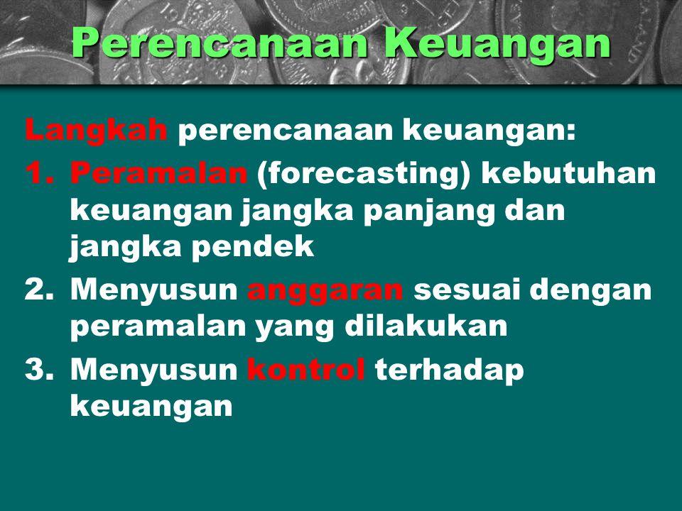 Perencanaan Keuangan Langkah perencanaan keuangan: 1.Peramalan (forecasting) kebutuhan keuangan jangka panjang dan jangka pendek 2.Menyusun anggaran s