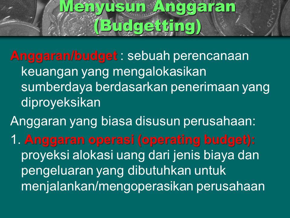 Menyusun Anggaran (Budgetting) Anggaran/budget Anggaran/budget : sebuah perencanaan keuangan yang mengalokasikan sumberdaya berdasarkan penerimaan yan