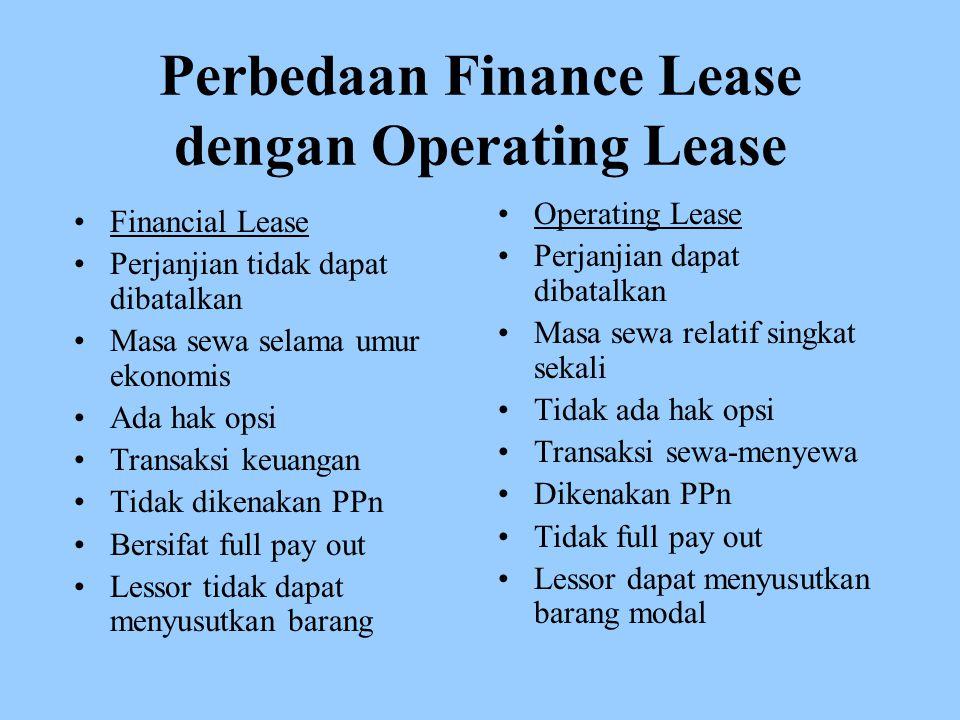 Perbedaan Finance Lease dengan Operating Lease Financial Lease Perjanjian tidak dapat dibatalkan Masa sewa selama umur ekonomis Ada hak opsi Transaksi