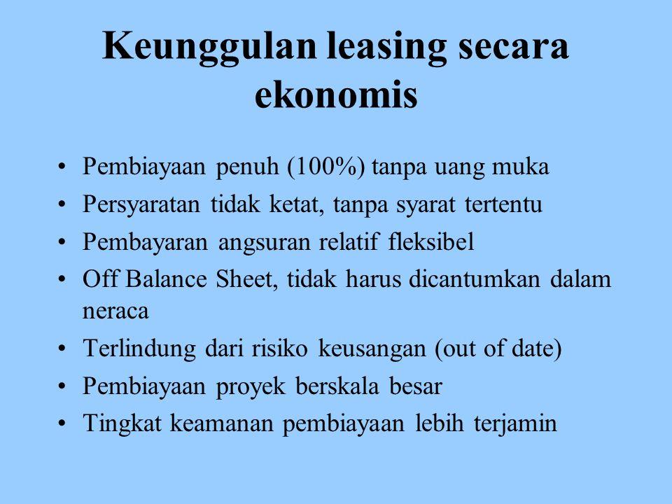 Keunggulan leasing secara ekonomis Pembiayaan penuh (100%) tanpa uang muka Persyaratan tidak ketat, tanpa syarat tertentu Pembayaran angsuran relatif