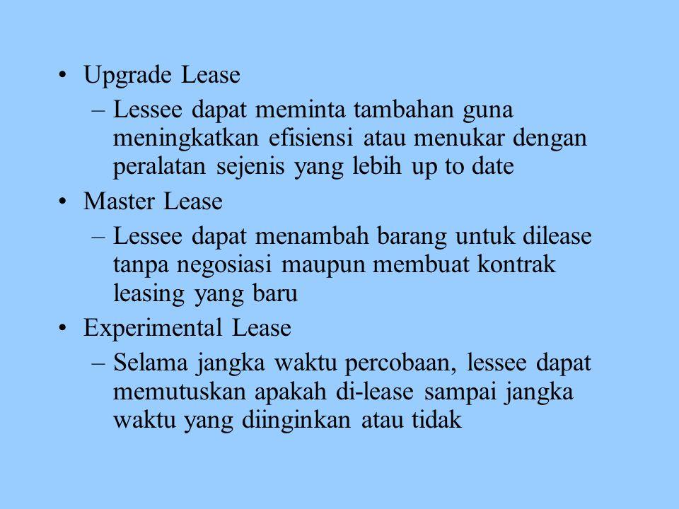 Upgrade Lease –Lessee dapat meminta tambahan guna meningkatkan efisiensi atau menukar dengan peralatan sejenis yang lebih up to date Master Lease –Les