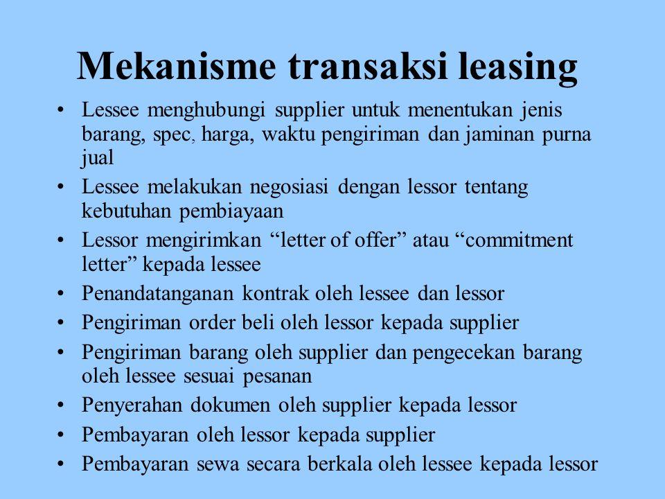 Mekanisme transaksi leasing Lessee menghubungi supplier untuk menentukan jenis barang, spec, harga, waktu pengiriman dan jaminan purna jual Lessee mel