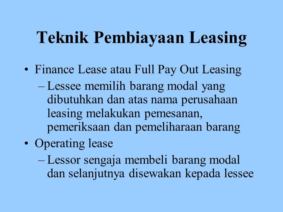 Teknik Pembiayaan Leasing Finance Lease atau Full Pay Out Leasing –Lessee memilih barang modal yang dibutuhkan dan atas nama perusahaan leasing melaku