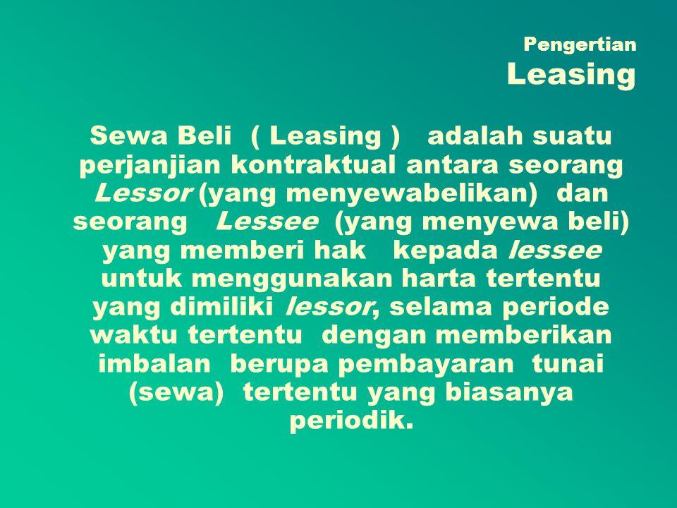 Kriteria Lease Modal Lease tersebut memindahkan kepemilikan atas harta dari lessor kepada lessee pada akhir periode perjanjian.