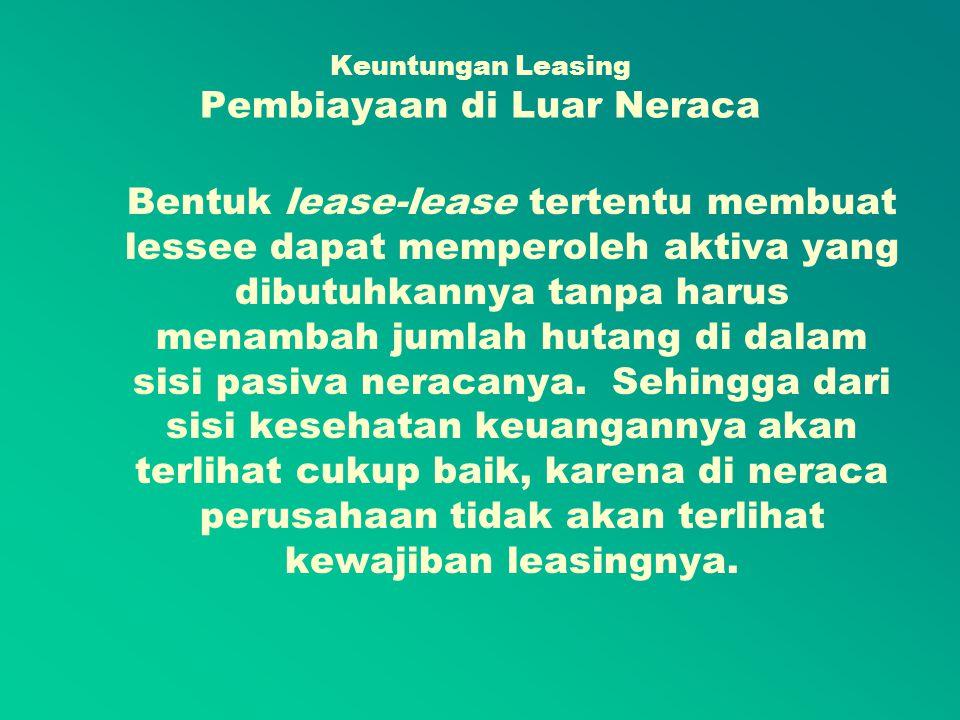 Jenis Leasing 1.Capital Lease (Sewa Beli Modal) 2.Operational Lease (Sewa Beli Operasional)